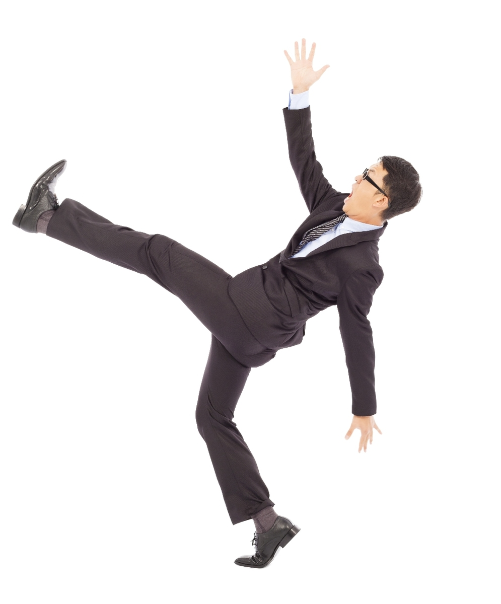 image of man mid fall